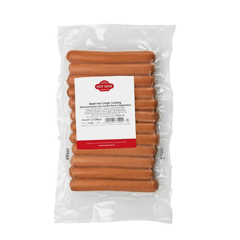 Saucisses Hot Dogs pur boeuf x 12  51214 Saucisses Hot Dog